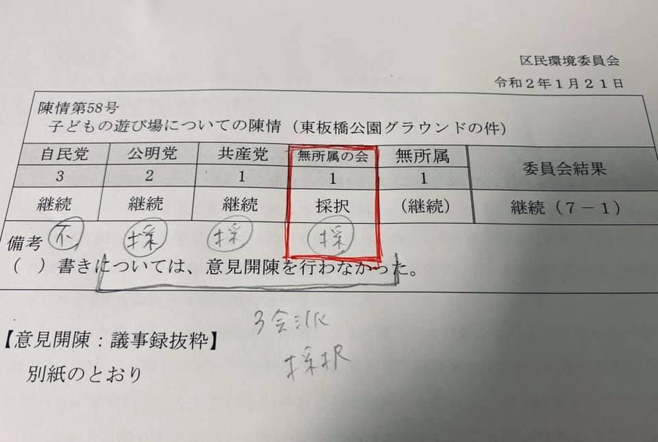 【子どもの遊び場についての陳情→東板橋公園も採択○へ】